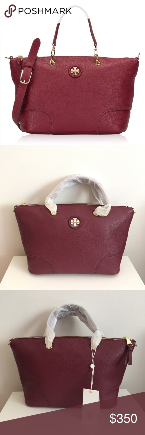 8b37ed18d06f Tory burch whipstitch logo small slouchy satchel Mew with tag attach Tory  Burch Bags Satchels