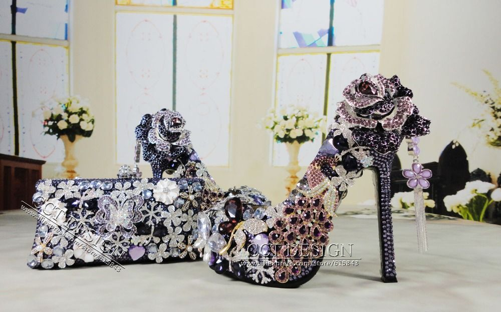 2014 Luxury women purple high heels wedding shoes rhinestone bridal party  pumps and matching bags 5.5inch-in Pumps from Shoes on Aliexpress. d50f6d5fce82