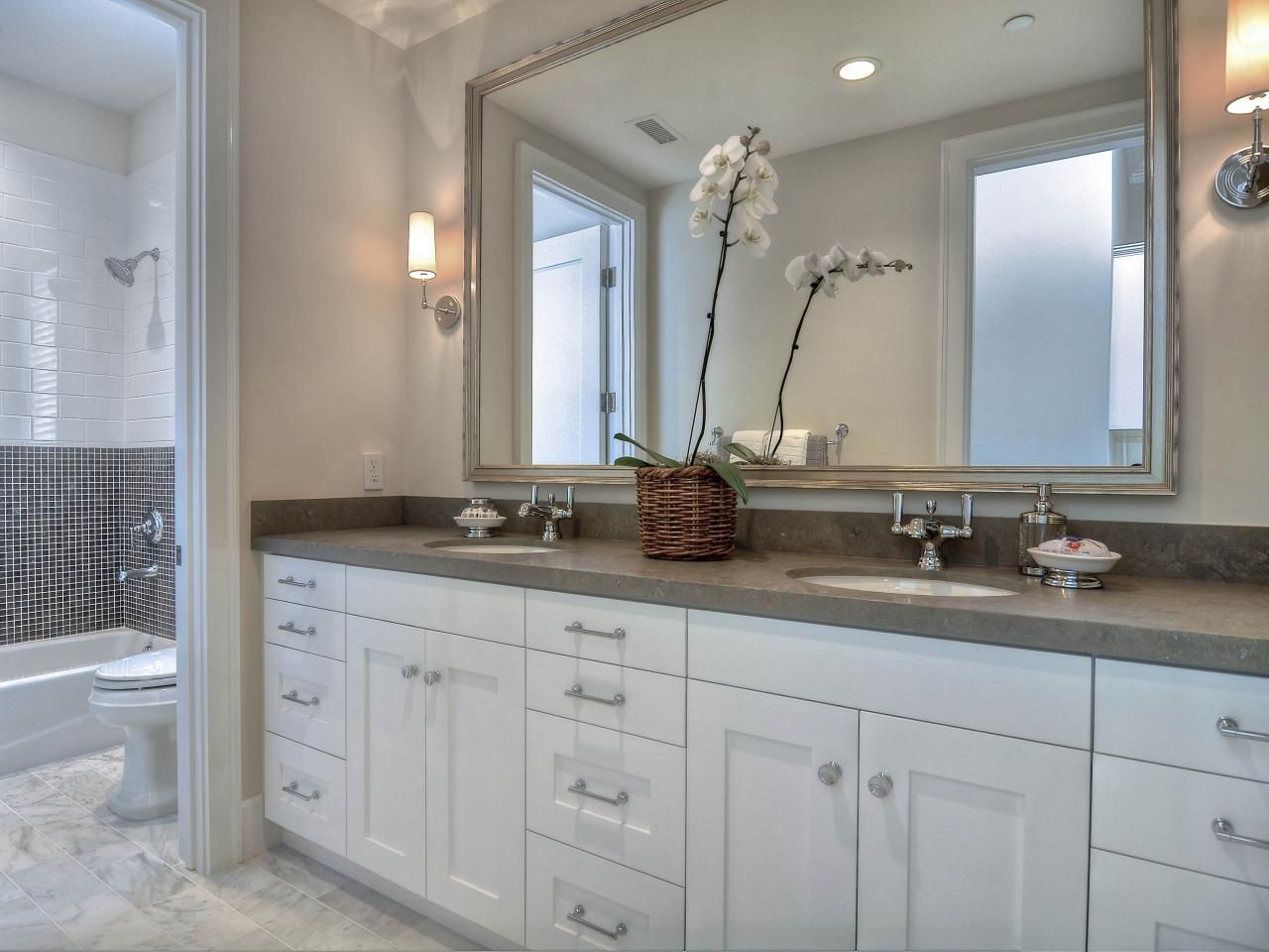 images about new master bathroom whitegray on pinterest gray vanity  vanities and painting oak cabinets  grey and white bathroom. White Bathrooms  Fully White Bathroom Idea With Luxury Vanity