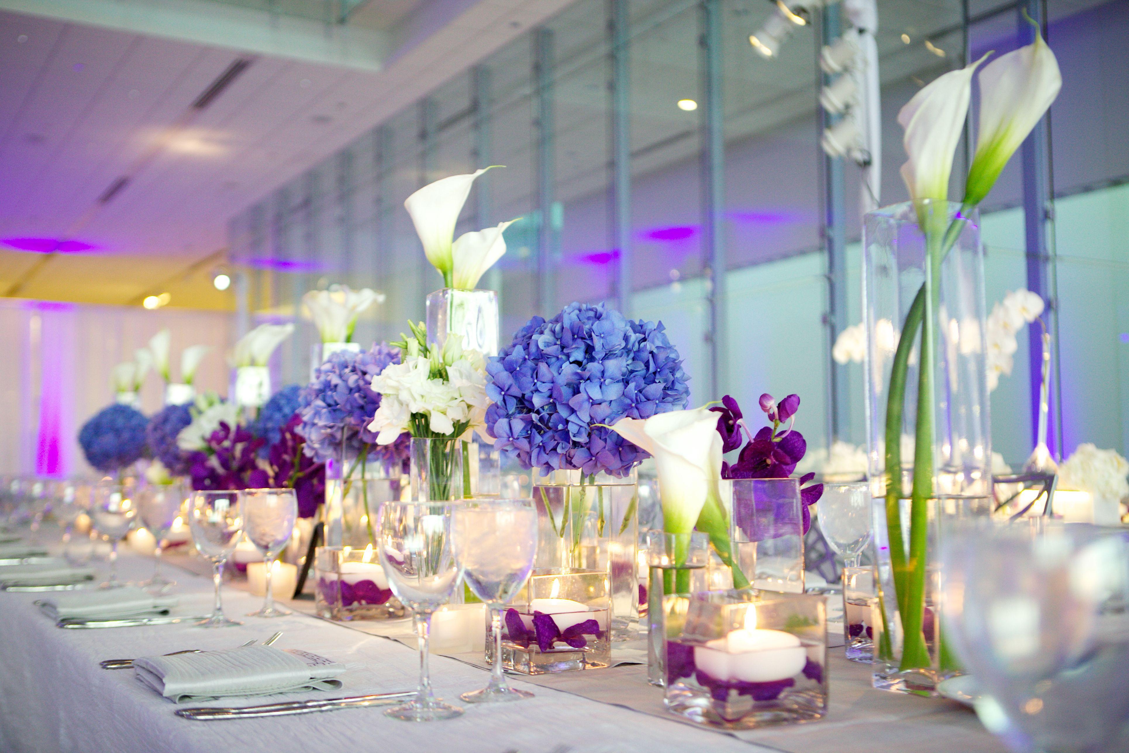 Blue and white wedding decor  Modern Purple Blue u White Wedding at Contemporary Chicago Venue