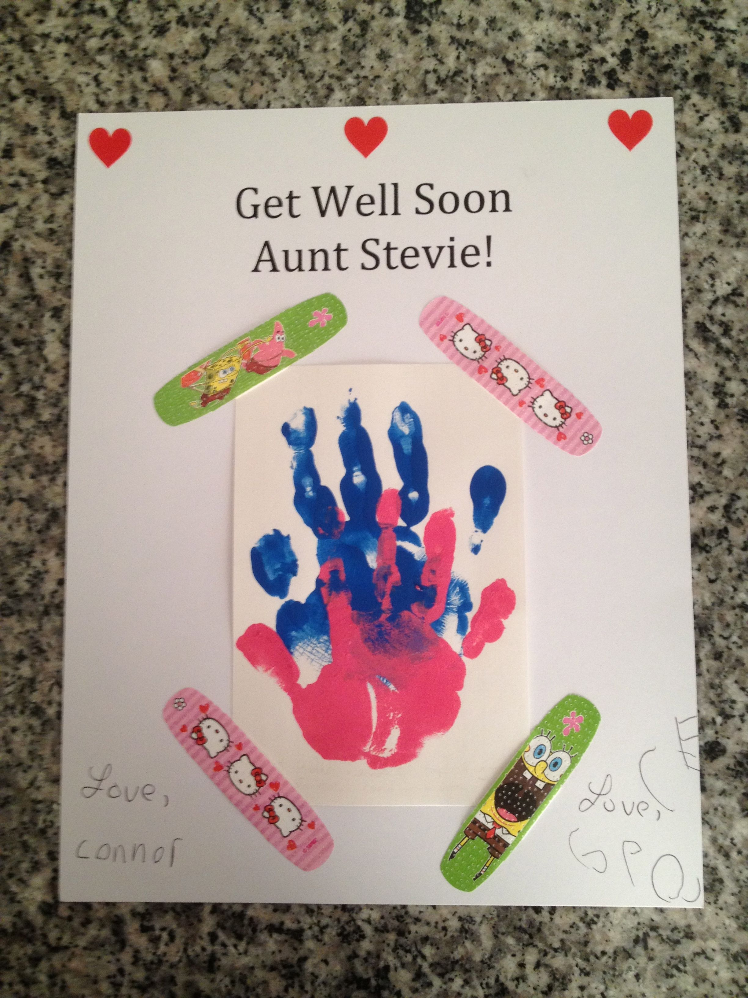Awesome Get Well Soon Card Ideas For Children To Make Part - 2: Get Well Handprint Card With Band Aids