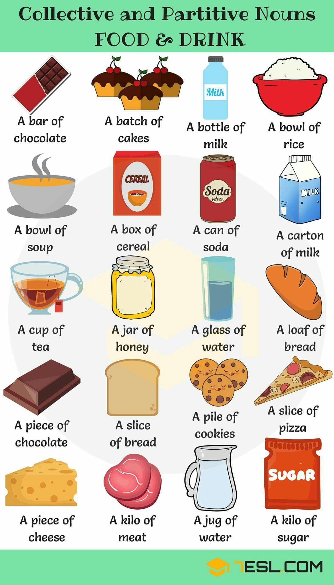 Collective And Partitive Nouns For Food And Drinks