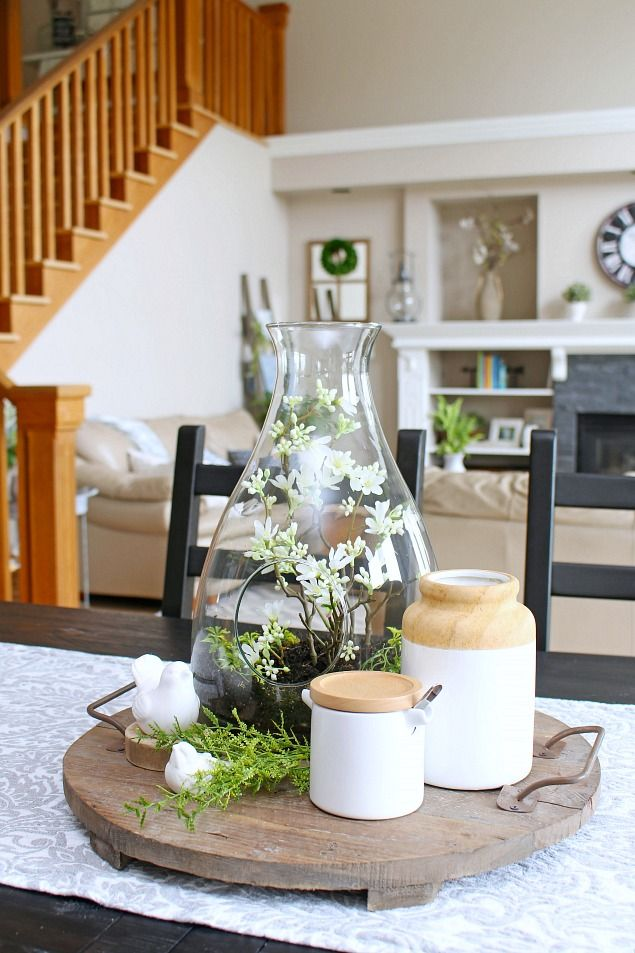 Add some spring to your home with these 10 minute spring decorating ideas. This pretty spring terrarium makes the perfect spring centerpiece.