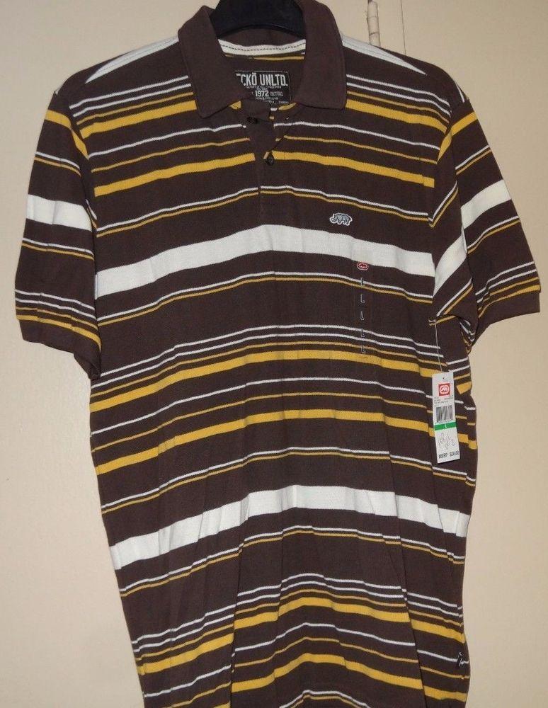 ab15dca3561 Ecko Unltd Unlimited Rhino Brown Yellow White Size L Polo Shirt Stripe NEW  NWT #EckoUnltd #PoloRugby