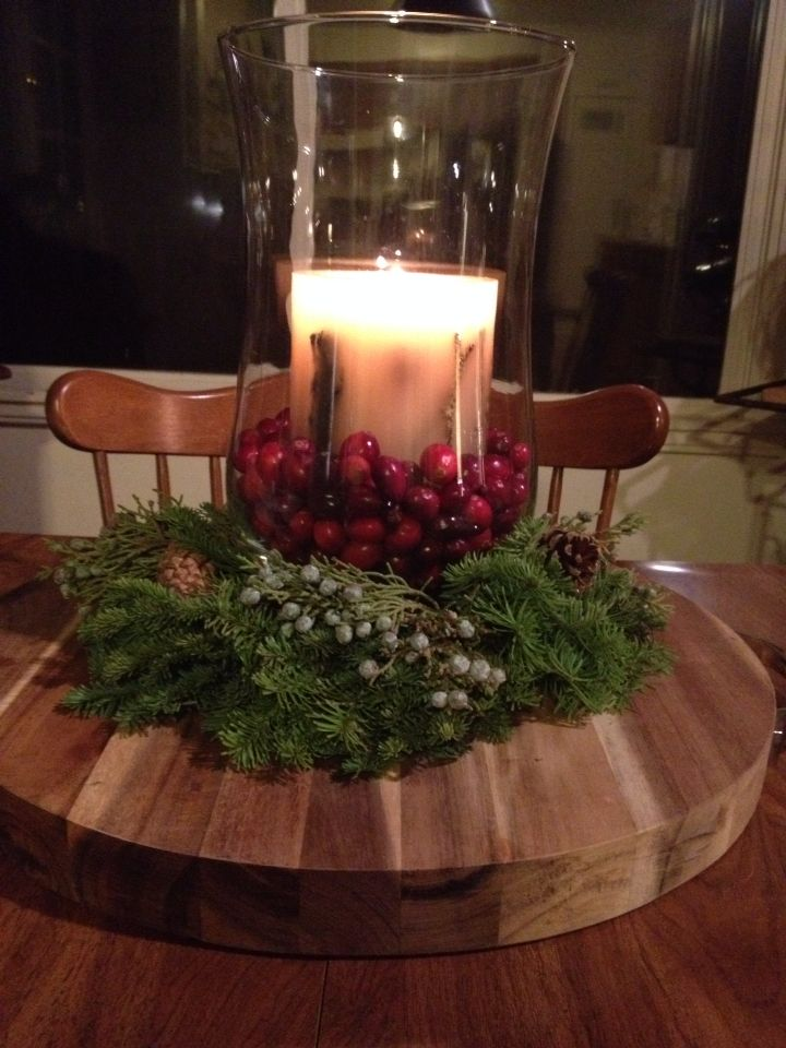 Holiday Christmas Centerpiece Wreath Hurricane With Cranberries And Pott Dining Room Table Cranberry Centerpieces