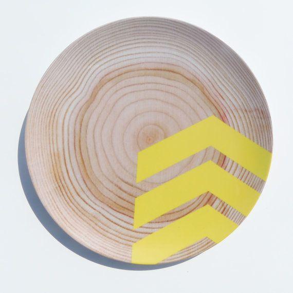 "Modern Wood Simple Chevron 10"" Melamine Plate, Sunshine Yellow"