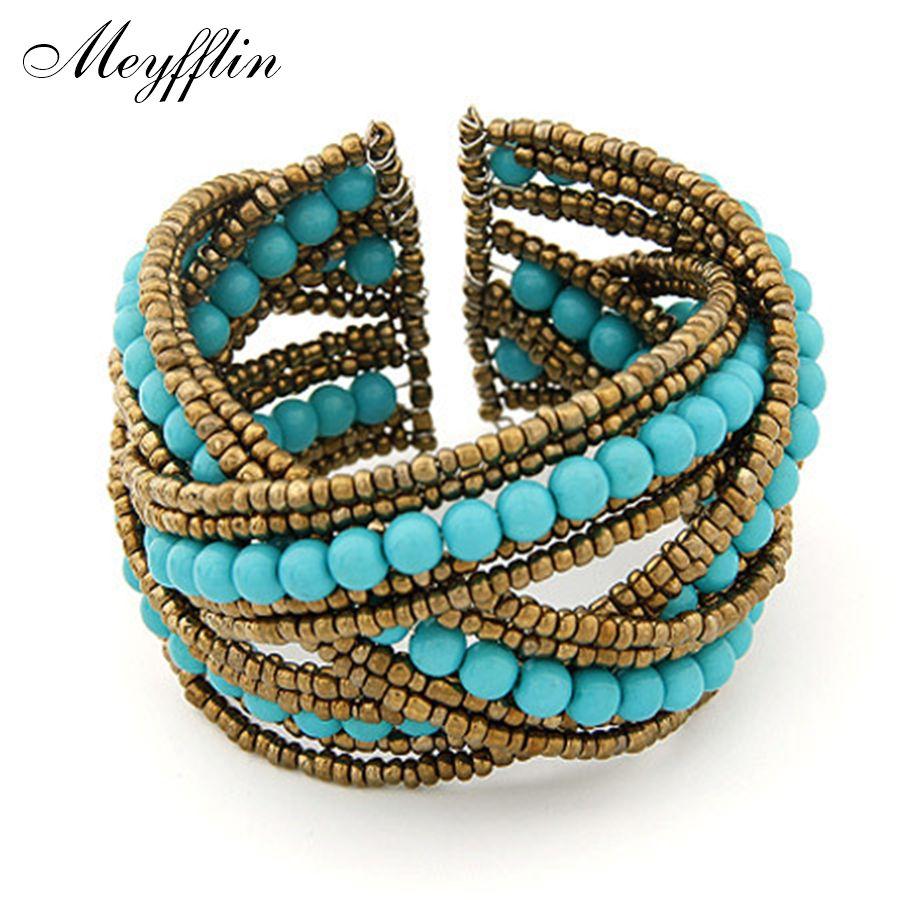 Bohemian boho cuff bracelet for women men jewelry fashion resin