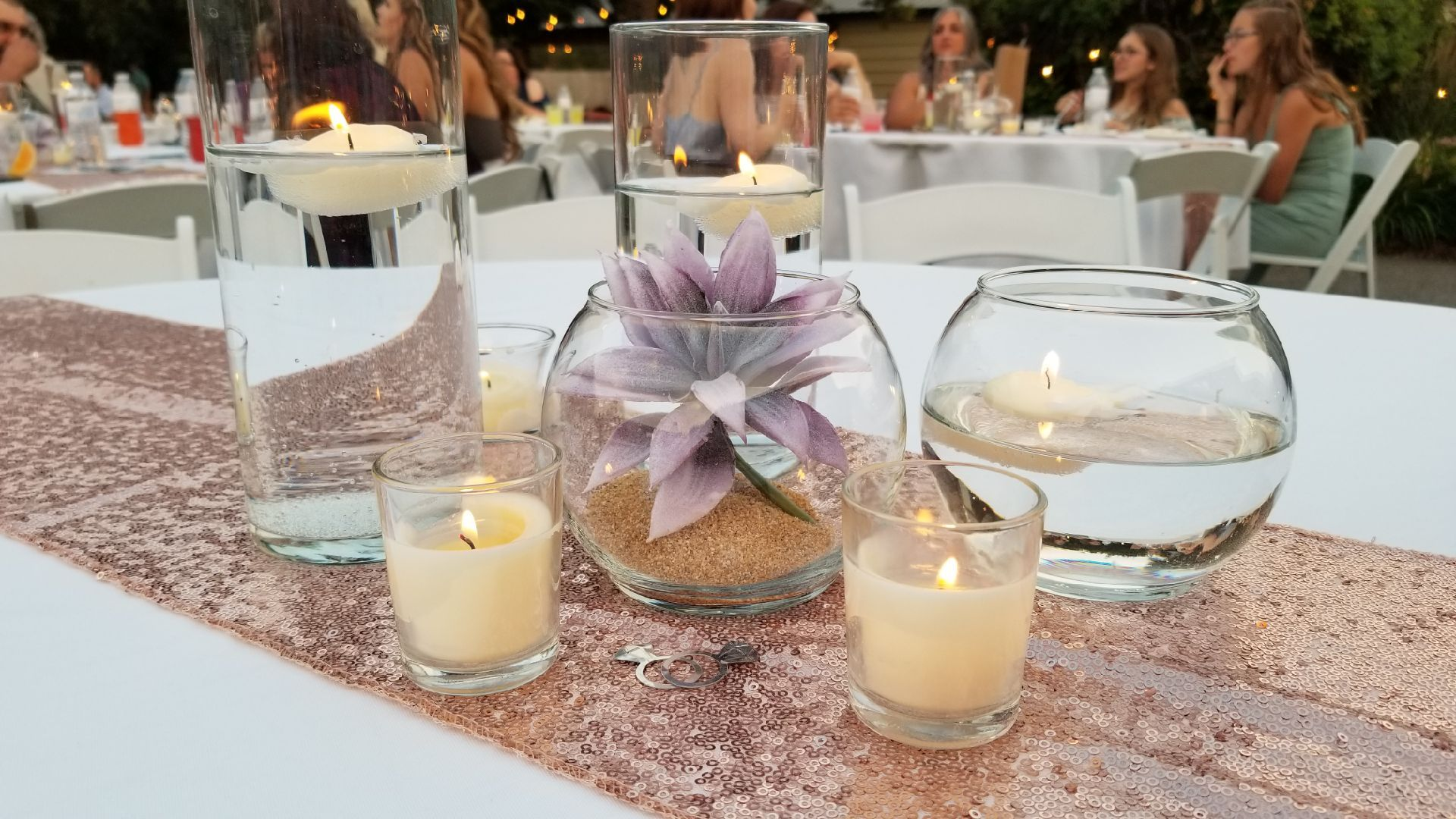 Floating Candles With Succulents And Rose Gold Table Runners Simple Elegant Centerpieces Rose Gold Table Rose Gold Table Runner