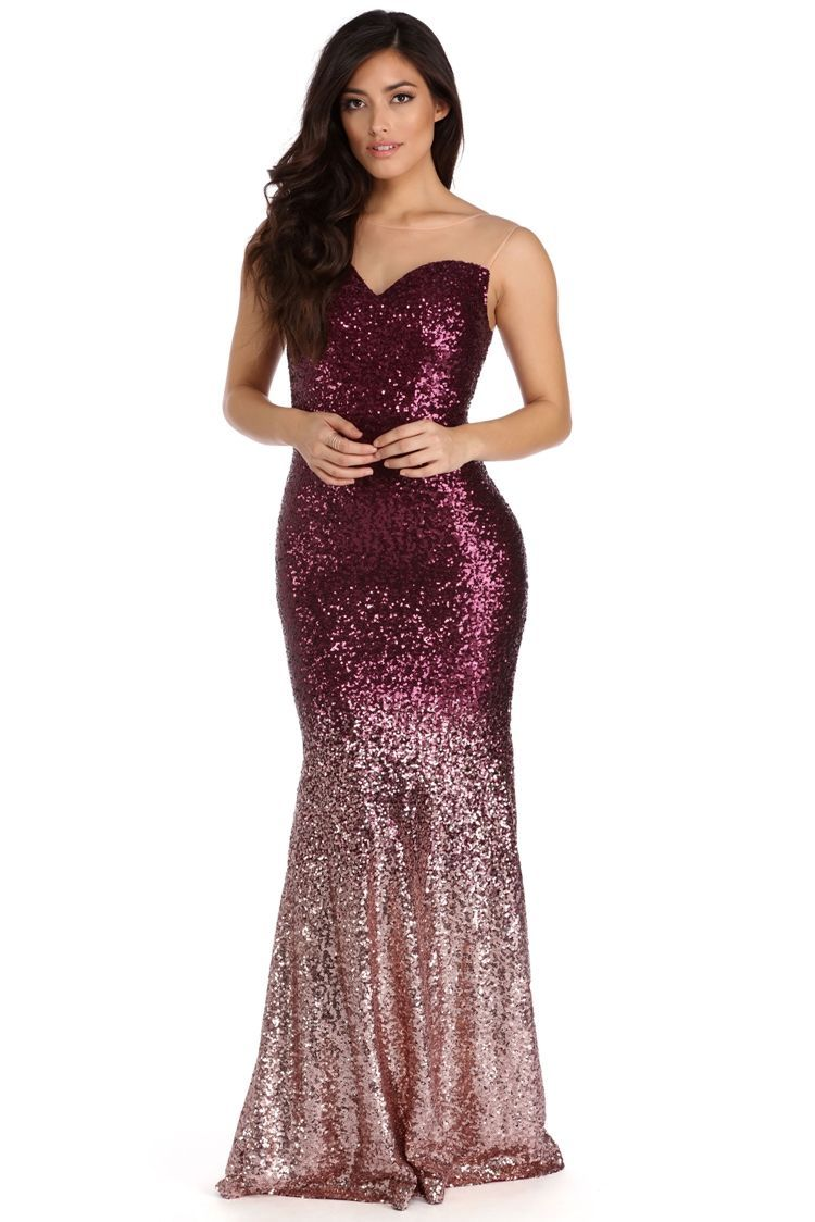 Britney Burgundy Ombre Sequin Dress | Mermaid silhouette, Sequins ...