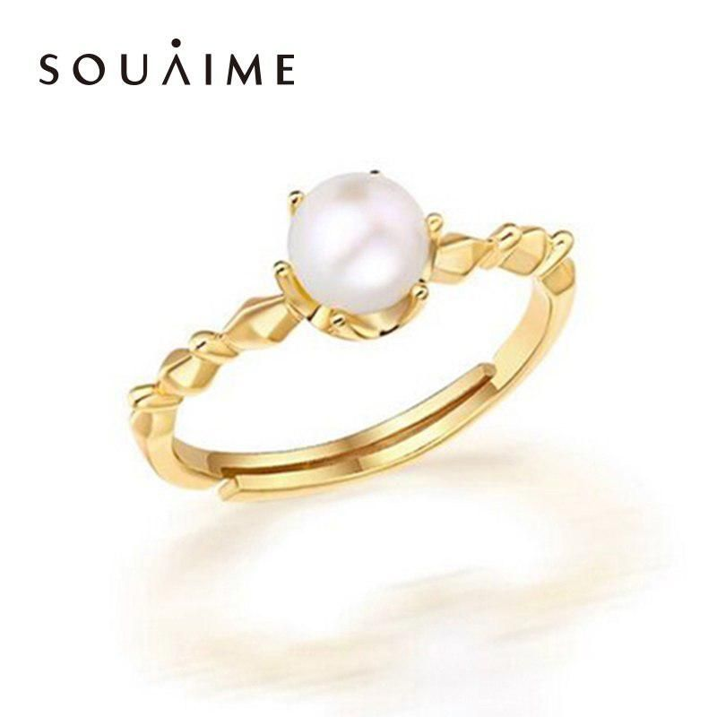 0f7f0e4ff SOUAIME Pearl Jewelry Plated 18K Yellow Gold Natural Round Freshwater Pearl  Ring Women's Wedding Ring Premium