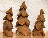 Set of Three 3 Pine TREE WOOD CARVINGS