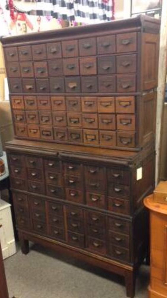 Antique Oak 84 Drawer Globe Wernicke Stacking File Cabinet