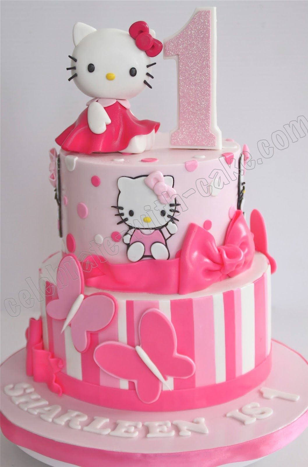 Groovy 1St Birthday Hello Kitty 2 Tier Cake Hello Kitty Birthday Cake Funny Birthday Cards Online Inifodamsfinfo