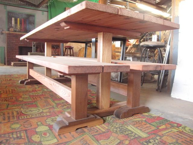 Old Growth Redwood And Western Red Cedar Trestle Table And Bench Set.