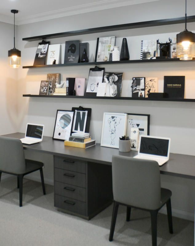Find more interior design black and white decor ideas at http essentialhome also work in style grey home office hi ho here we go rh pinterest