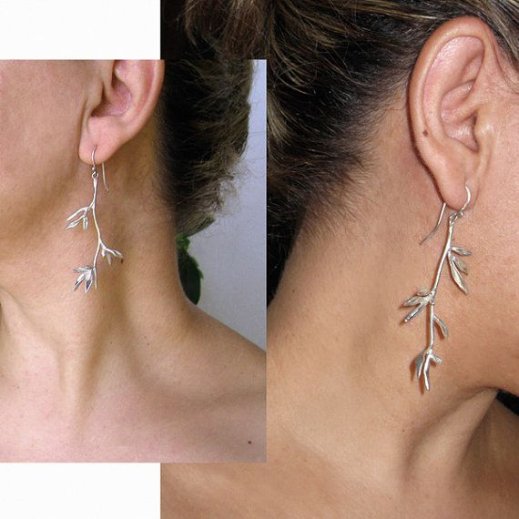 Weeping Willow Sterling Silver Dangle Earrings by applenamedD