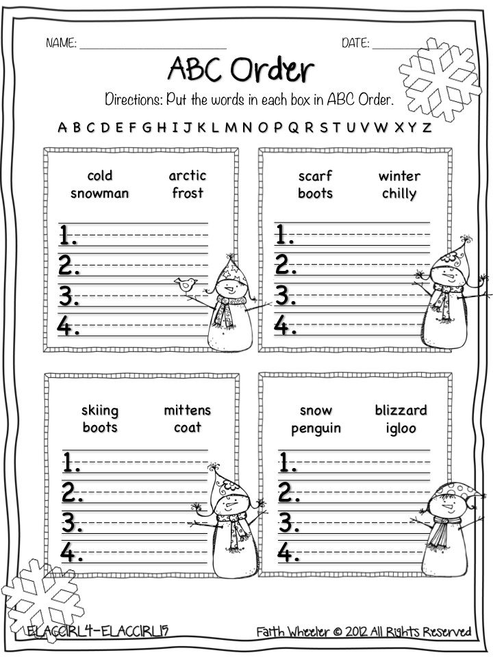 Snowman Worksheet Freebies 1st Grade Activities, Abc Order, 1st Grade  Writing
