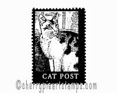 CAT POST- mail art postoid- CLING rubber STAmP for acrylic block by Cherry Pie Art Stamps