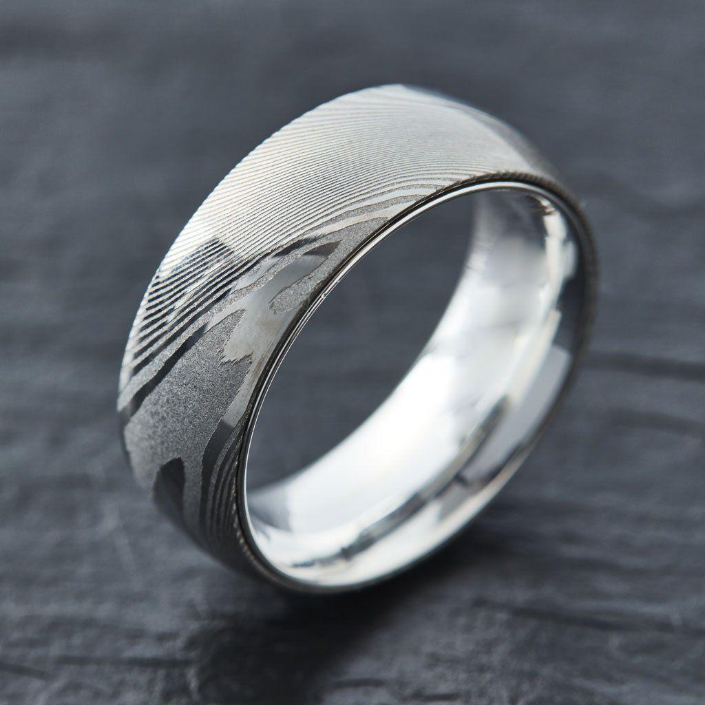 Damascus Steel Ring Band Rose gold Outer Liner Custom Width Handmade Damascus Ring Men Wedding Ring Men Engagement Ring Men Band