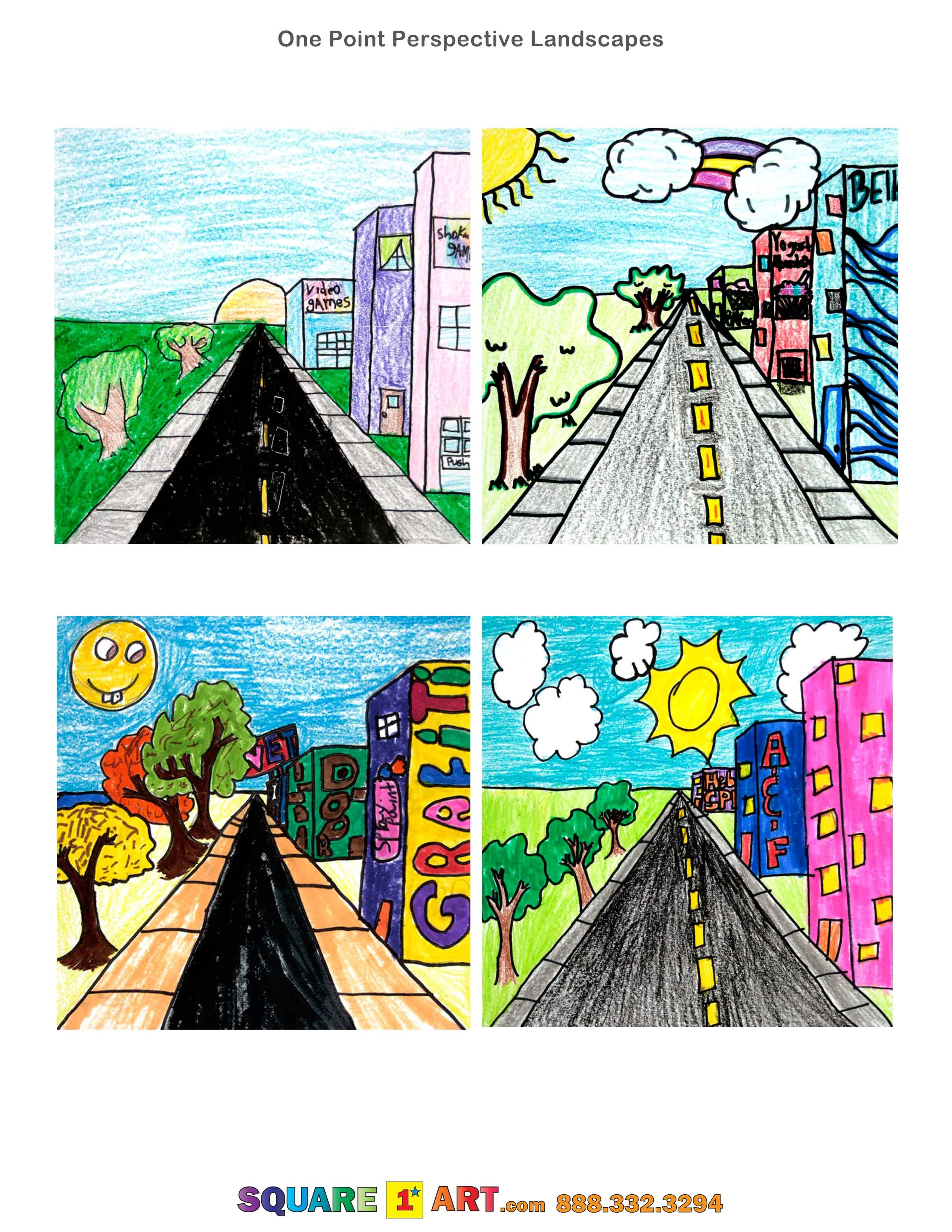 One Point Perspective Landscapes Square1art