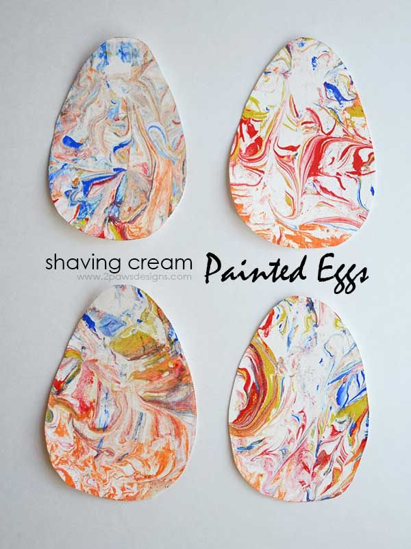 Shaving Cream Painted Eggs make a fun & easy Easter decoration. | kid crafts | diy