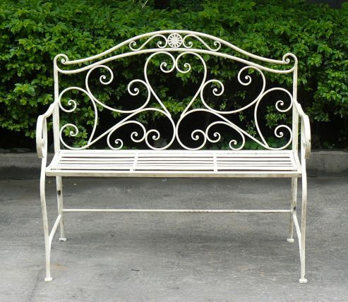 Charming Bentley Garden Wrought Iron White Bench