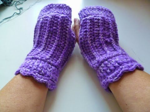 Pulswärmer im Rippenmuster häkeln - crochet Glove - Handschuh ...