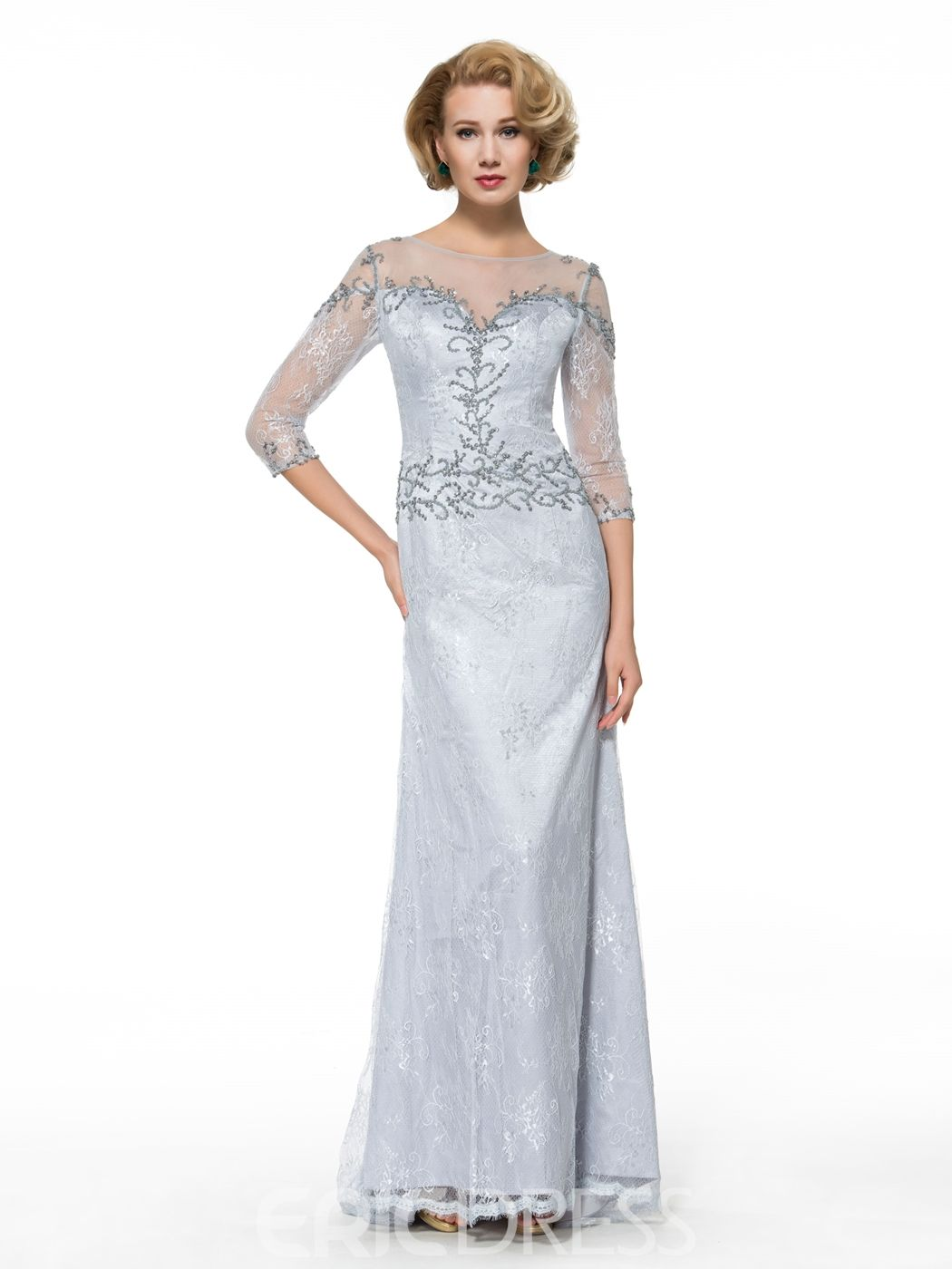 3/4 length lace wedding dress  Sheath Lace  Length Sleeves Long Mother of the Bride Dress