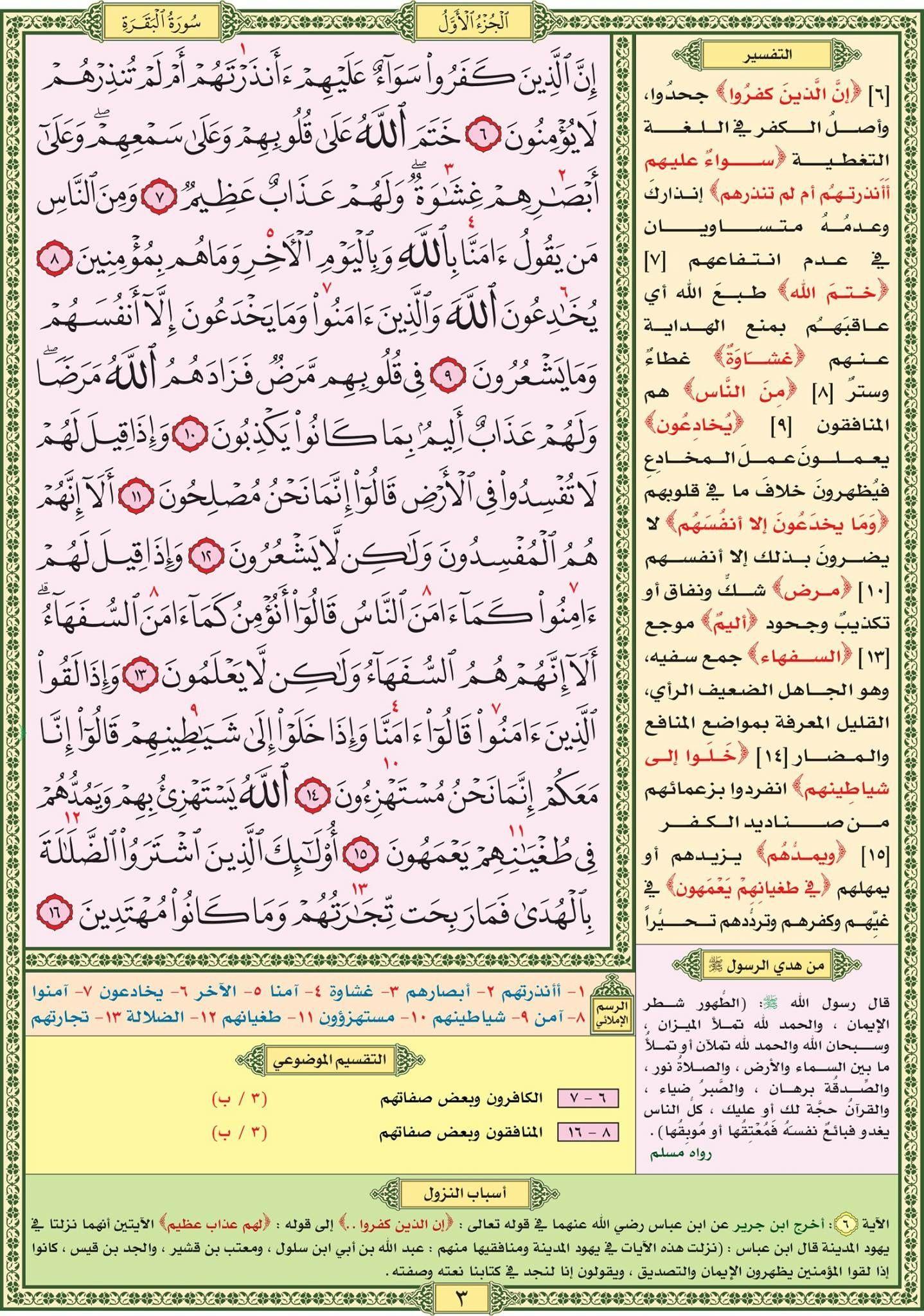 سورة البقرة صفحة رقم ٣ مصحف التقسيم الموضوعي للحافظ المتقن Quran Verses Noble Quran Verses