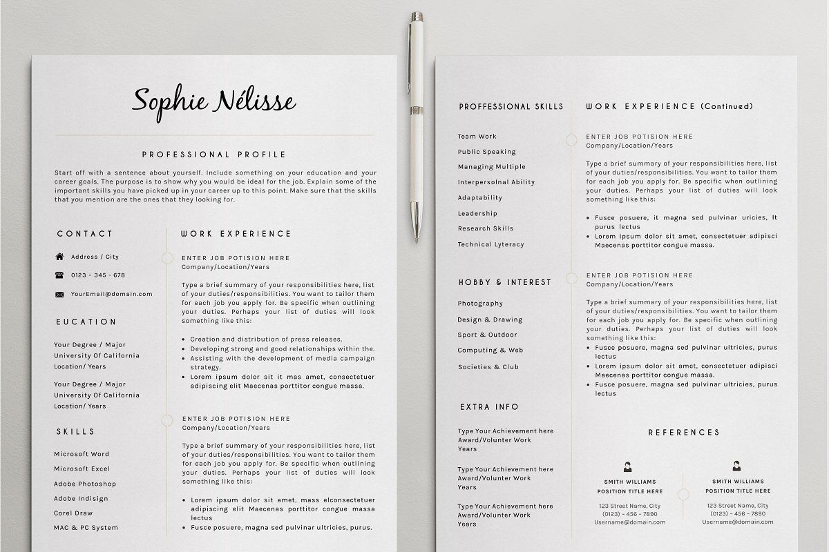 Ad Professional Resume Template by CreativeLab on
