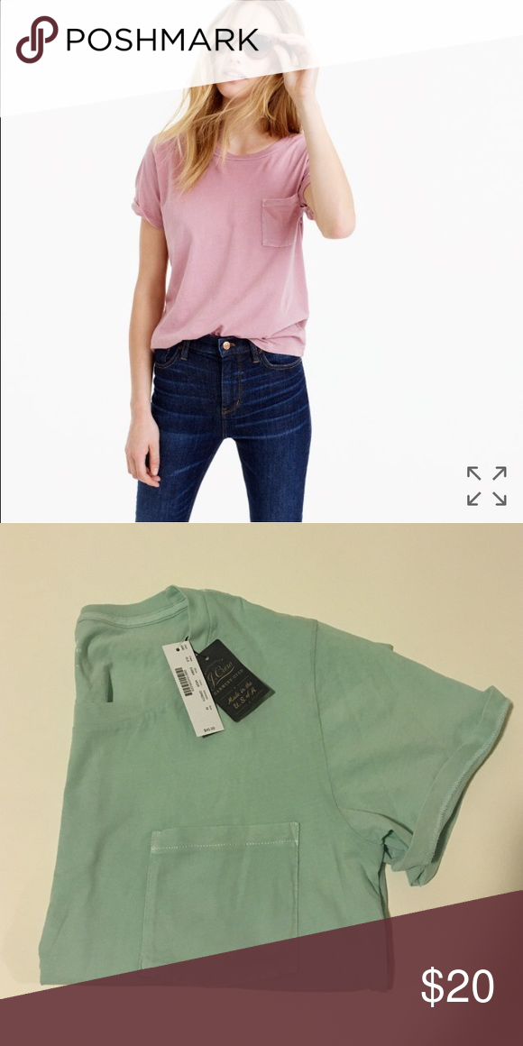J.Crew Garment Dyed Pocket Tee Note that the snapshot is displayed for fit and style purposes it does not reflect the actual color. The one I'm selling is a mint green. It's got that pastel feel which works with any skin-tone. It's light-weight but not see through and it fits relaxed. Also it's made in America! Is that not a plus? J. Crew Tops Tees - Short Sleeve