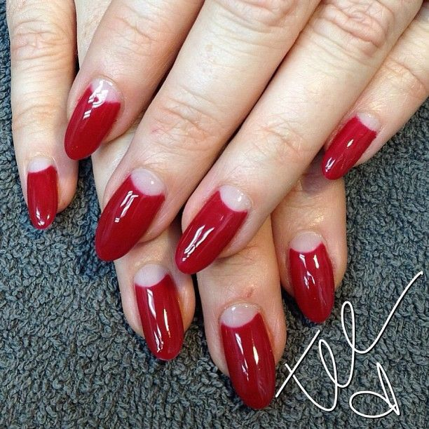 half moon nails Dita Von Teese style French Tip Stiletto Nails With Design