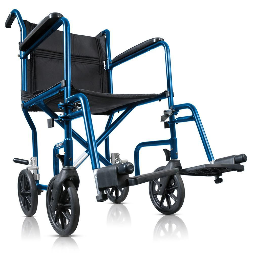 Hugo Mobility Portable Lightweight Transport Wheelchair With Detachable Footrests Midnight Blue Transport Wheelchair Transport Chair Midnight Blue