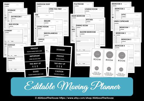 Moving Planner \u2013 Editable Planners and House - mileage log form