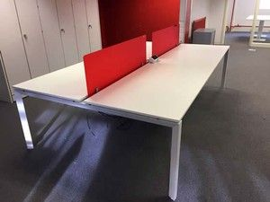 Used White Bench Desks With Groovy Perspex Screens These Are Fab And Available Right Now