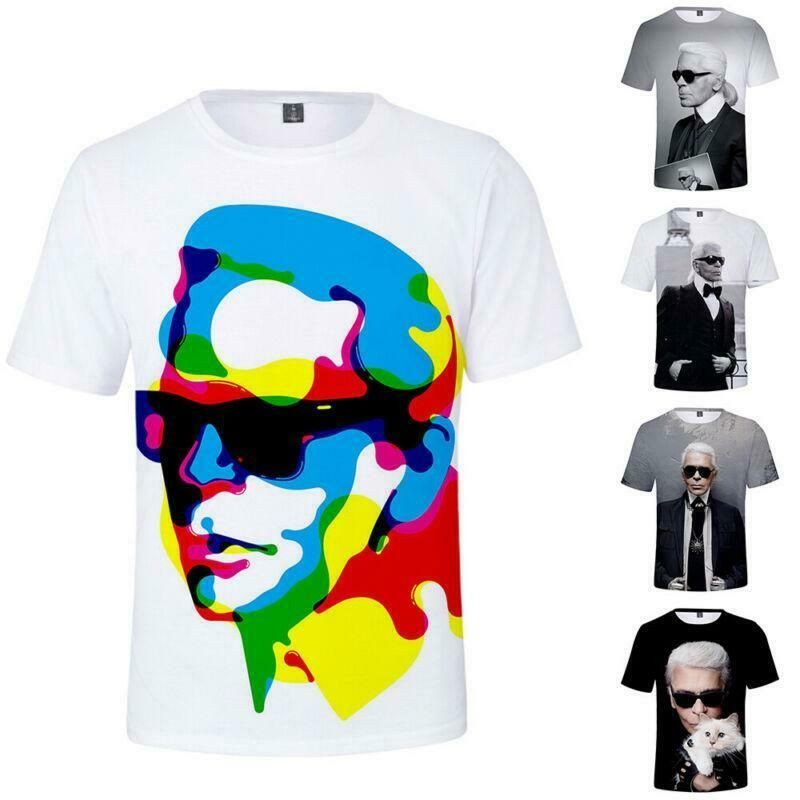 Karl Lagerfeld 3D Print Men Tee Print T Shirt Short Sleeve Cotton Summer Casual