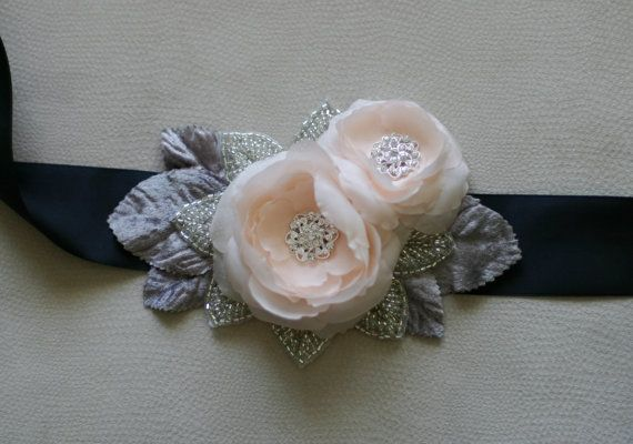 Bridal Belt with Two Handmade Silk Habotai Flowers by FineNFleurie