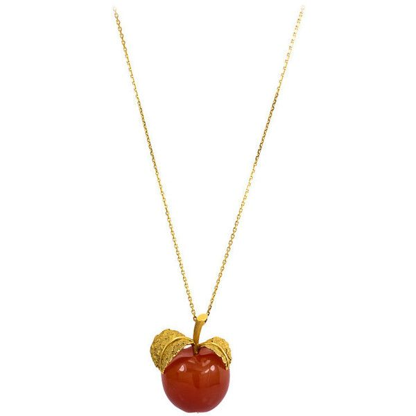 Preowned Carnelian Gold Apple Form Pendant 76600 NOK liked on