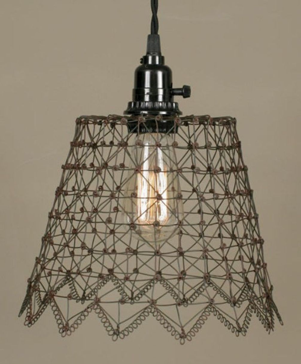French Chicken Wire Swag Lamp 10wx8h In 2019 Lighting Pendant Wiring A Light Fixture
