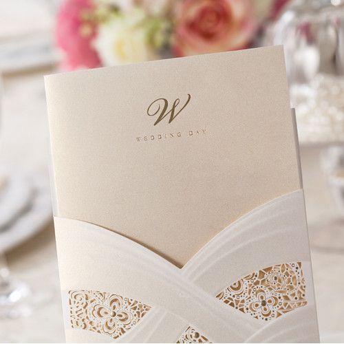Charmant Affordable Ivory Floral Laser Cut Wedding Invitations EWWS017