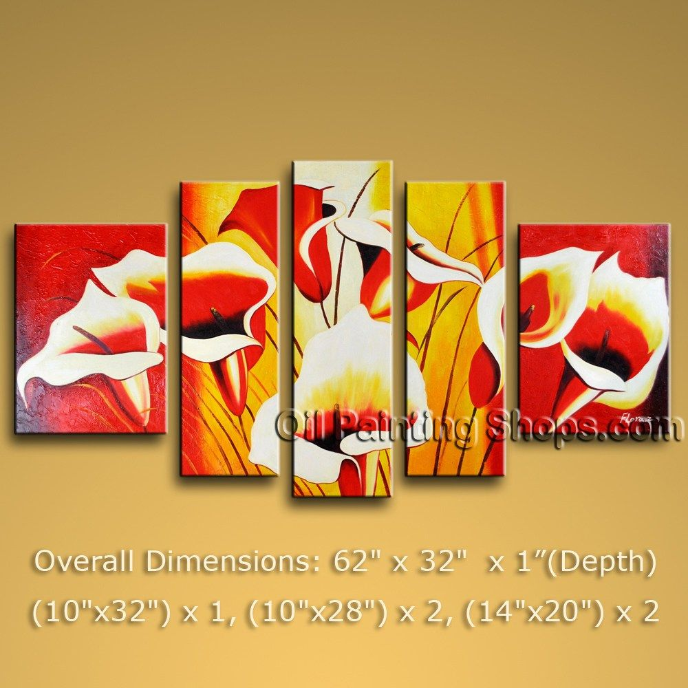 Hand-Painted HUGE Multiple Panels Wall Art On Canvas Textured Art ...