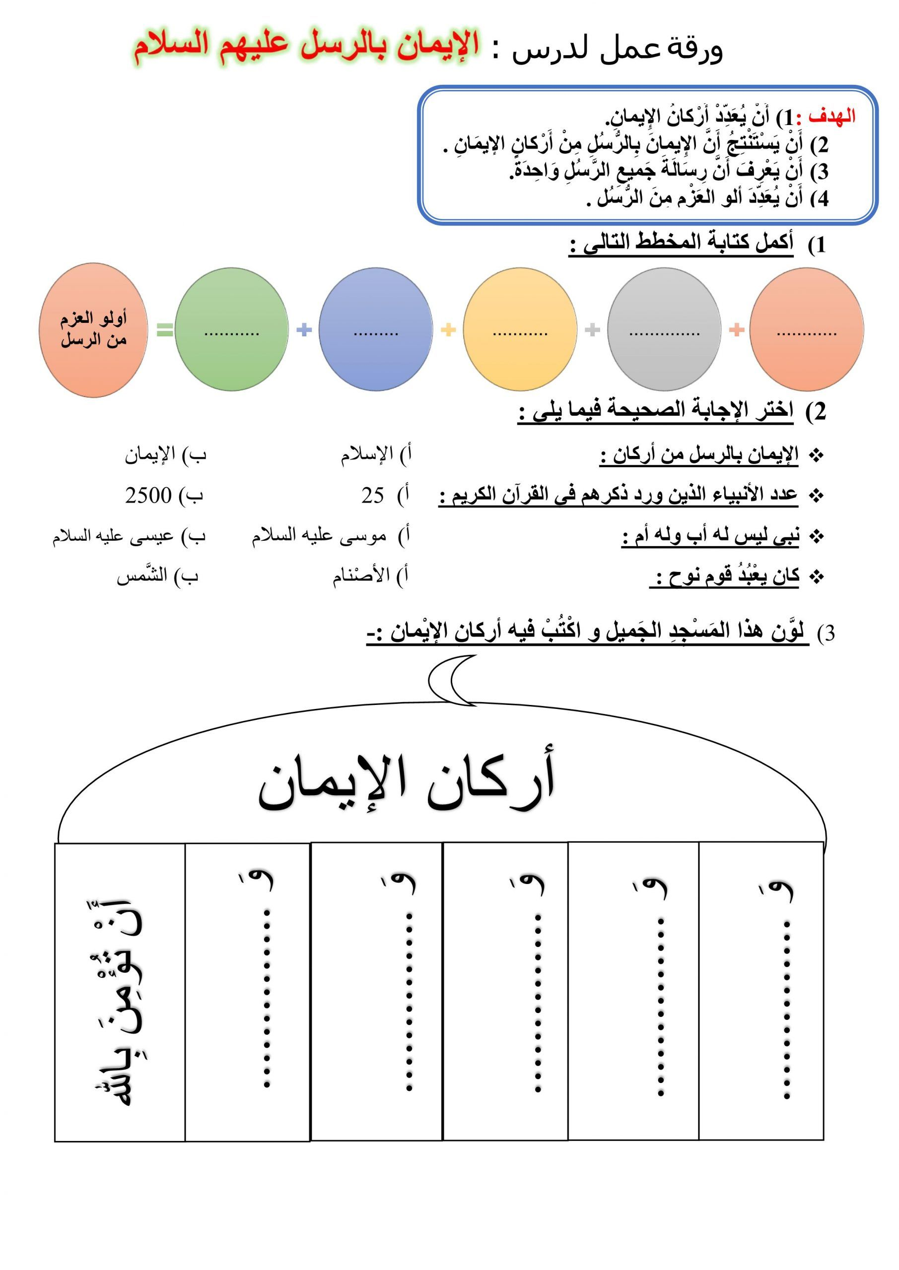 ورقة عمل درس الايمان بالرسل عليهم السلام للصف الثاني مادة التربية الاسلامية Word Search Puzzle Words Map