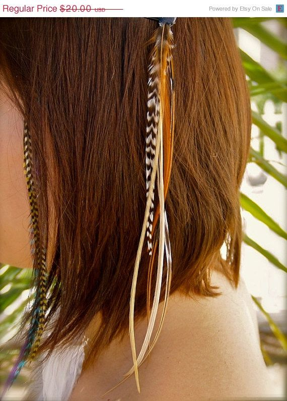 NEW Hair Feathers Extensions Clip On Black Clip 11 inches Long