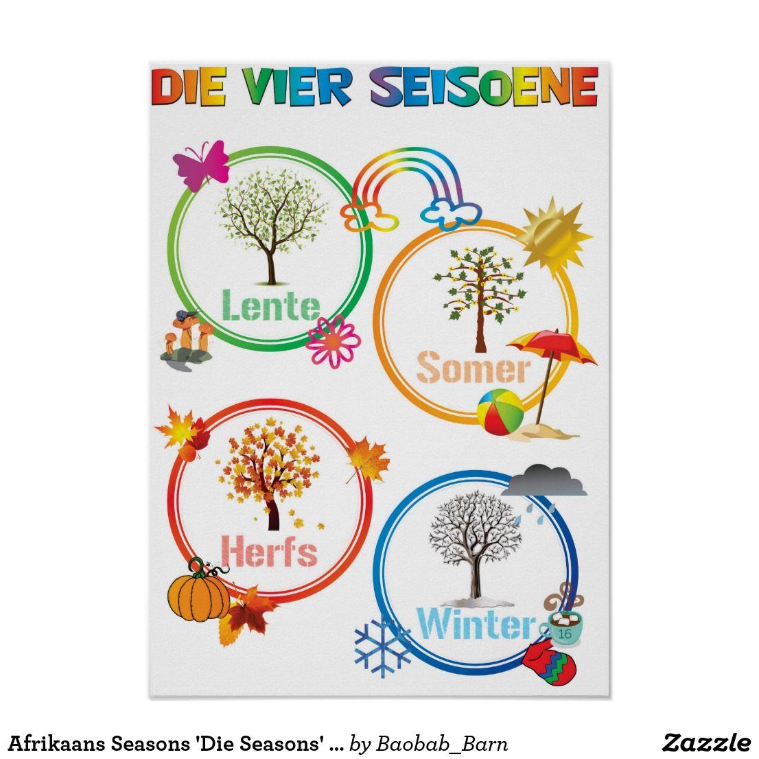 Afrikaans Seasons Seasons Classroom Poster