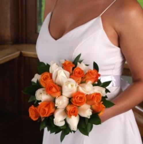 Bridal Bouquet Royal Orange & White Roses