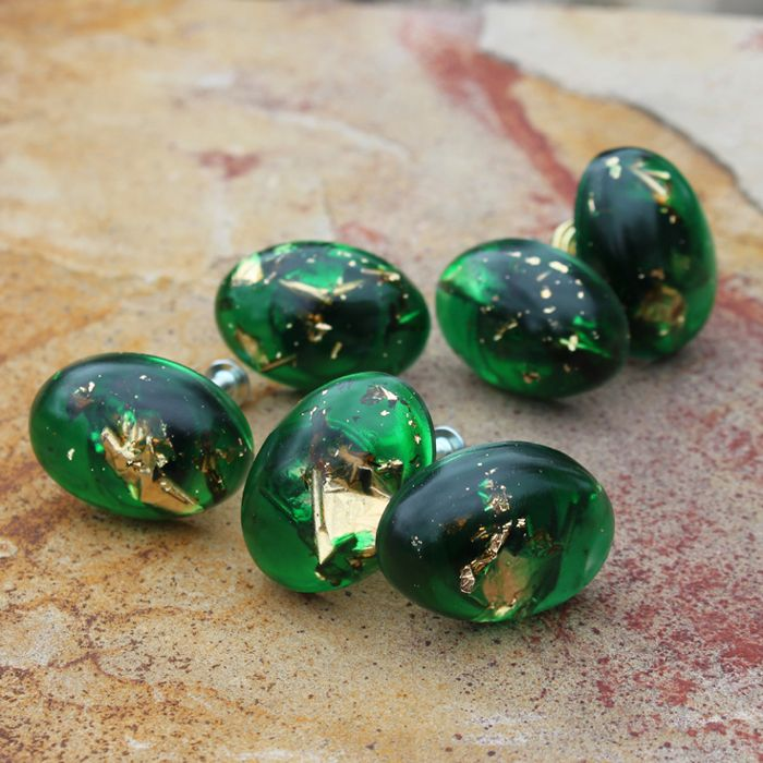 Get Inspired And Make Your Own Cabinet Pulls Using Clear Casting Resin.  These Emerald Green