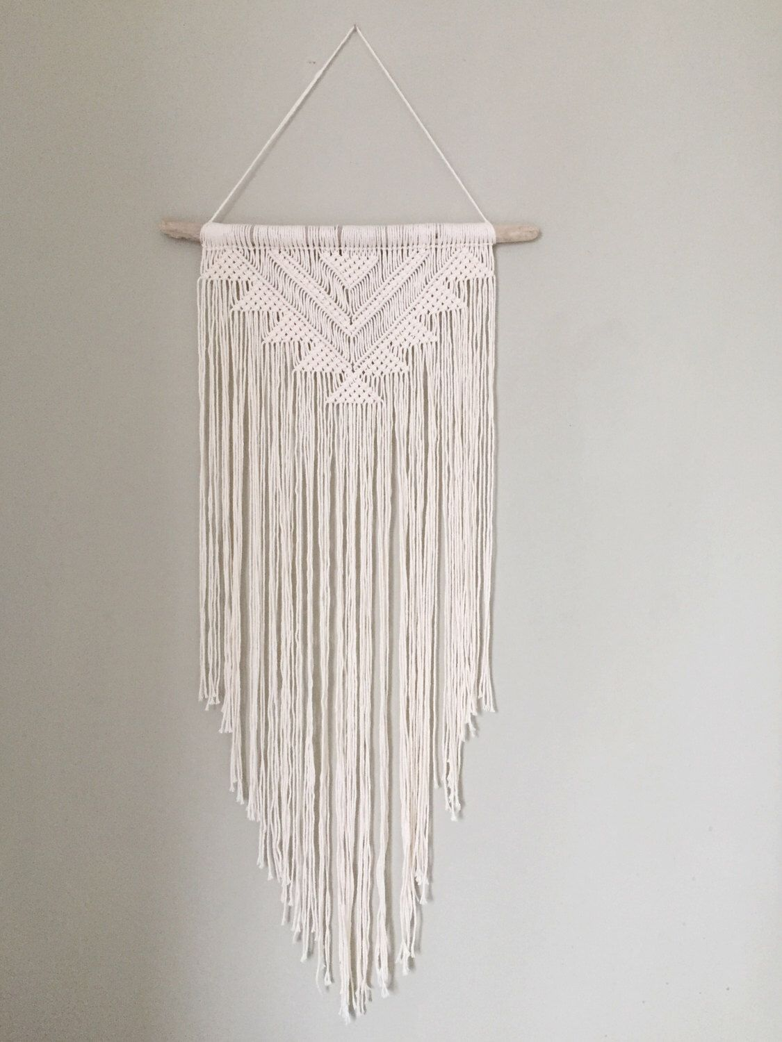 Amazing Handmade Macrame Wall Hanging Wall Decor Boho Chic Wall Art Aztec Bohemian  Creme Cotton Organic Yarn Tapestry Weave Crochet MADE TO ORDER By BobellaCo  On ...