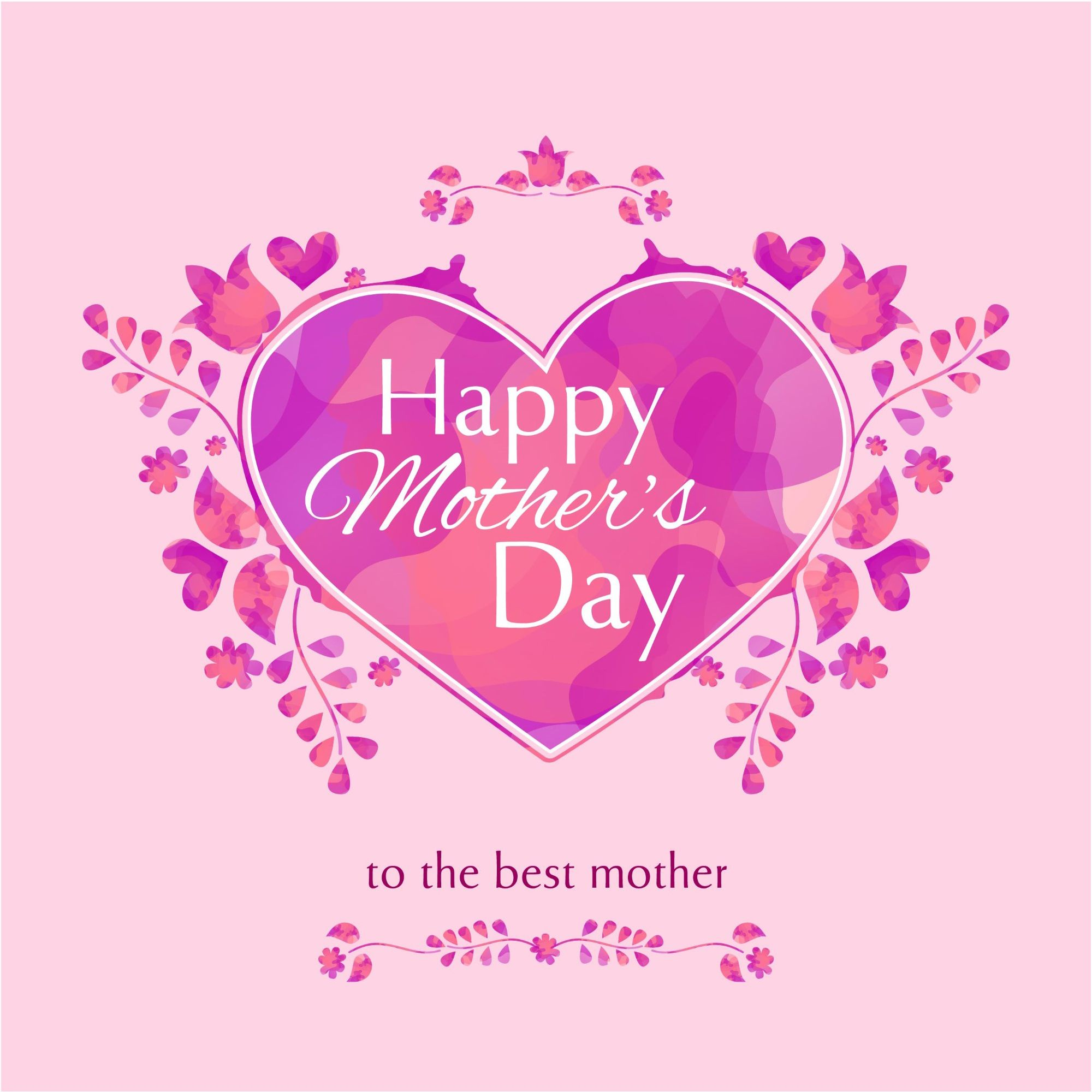 Happy Mothers Pink Day Heart Design Vector Greeting Card 500 Best