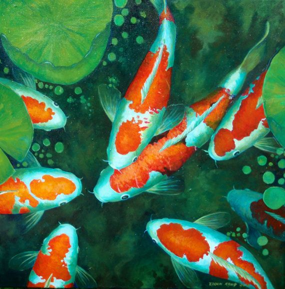 Koi original acrylic painting koi pond series 8 by for Koi artwork on canvas