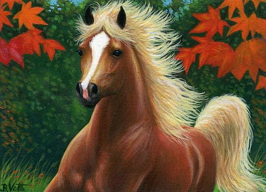 AUTUMN SPIRIT.....this chestnut flaxen stallion is feeling spirited on a crisp fall day amongst the brightly coloured maple leaves.....PRINTED